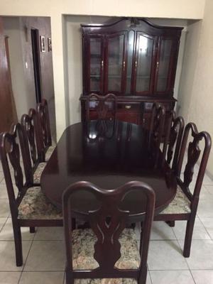 Vendo comedor 8 sillas con vitrina de madera posot class - Comedor con vitrina ...