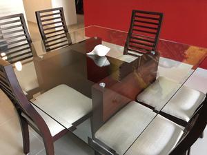 Comedor completo de madera maciza - Bufetero, mesa de