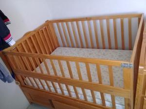 Cuna de madera convertible a cama individual posot class for Cama individual madera