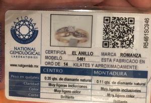 Anillo de compromiso con certificado de venta en joyerías
