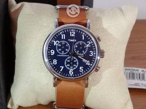 Reloj timex weekender,correa piel,cronos,fecha,lo