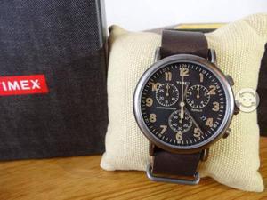 Timex nuevo,weekender correa de piel,chocolate,j