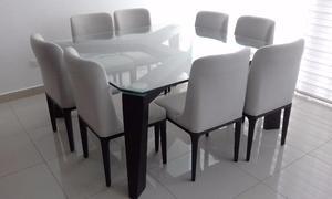 Comedor 8 Sillas, Mesa con Base de Madera y Plataforma de