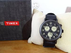 Reloj timex cronografo,acero pavonado,fechador,lu,