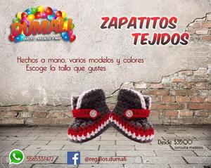 ZAPATITOS TEJIDOS HECHOS A MANO DIFERENTES MODELOS Y COLORES