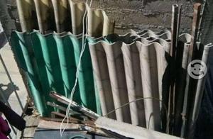 Laminas de asbesto usadas