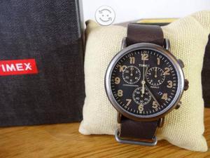 Reloj timex nuevo,chocolate,cronografo,luz,fechado