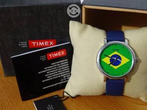 Reloj timex bandera brasil,maquina japonesa,unisx