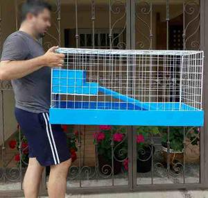 Jaula Nueva Azul Para Cuyos 1 Metro Frente Con 1/2 Piso