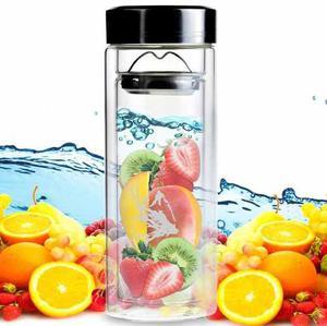 Botella Infusor De Cristal Para Te O Frutas Naturales H