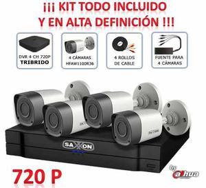 Kit Saxxon Cctv Hdcvi De 4ch Y 4 Cam. Bullet 720p