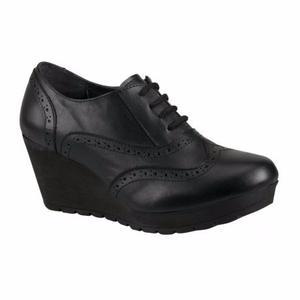 Zapatos  Plataforma 7c Bostoneanos Tacon Wedge Piel