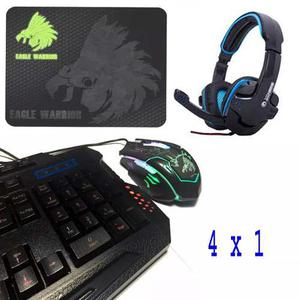 Kit Eagle Warrior G79 Teclado + Mouse, Headset Y Mouse Pad