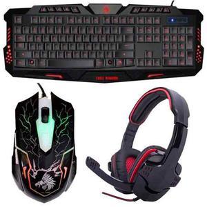Kit Gamer Combate Teclado, Mouse Diadema Gamer Hs-501