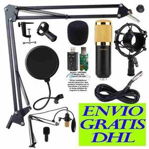 Kit Microfono Condensador Bm800, Brazo, Antipop, Tarjeta Usb