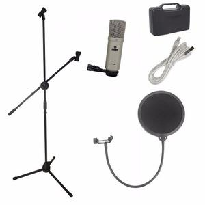 Kit Microfono Condensador Usb Stand Con Boom Anti-pop Louder