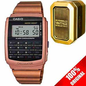 Reloj Casio Ca506 Acero Inoxidable Oro Rosa Calculadora