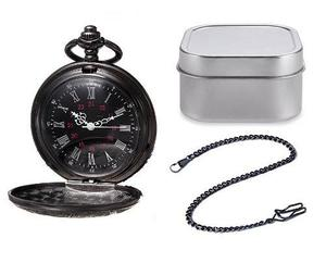 Reloj De Bolsillo Tipo Vintage Negro Manecillas Romanas 03