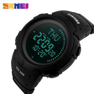 Reloj Militar 3 Alarmas Brújula Hora Mundial Sumergible