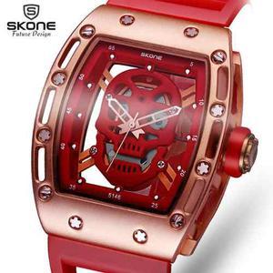 Reloj Skeleton Skone Hollow Calavera Skull Msi (rojo)