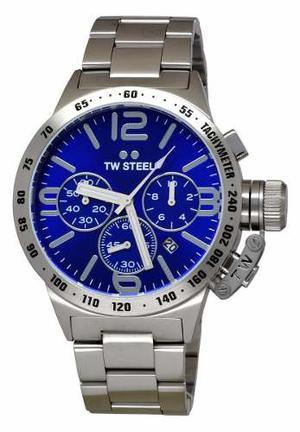 Reloj Tw Steel Canteen Acero Cronógrafo Azul Hombre Cb13
