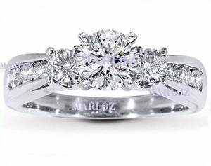 Anillo Compromiso Oro Blanco 10kt Diamante Ruso Galaxy 1