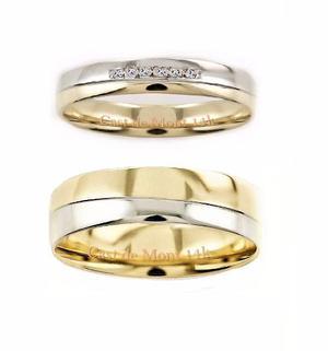 Argollas De Matrimonio Oro 14k 6mm Y 4mm Piedra Boda
