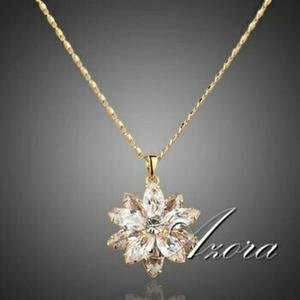 Flor De Cristal Swarovski Collar Con Cadena De Oro 18k