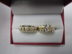Set De Anillos De Matrimonio 14k Diamantes.26 Cts G Vvs2