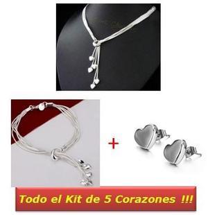 Todo El Set 5 Corazones Amor 3 Piezas: Collar Pulsera Aretes