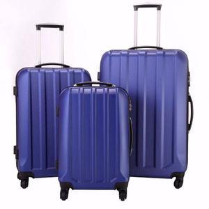 Set De 3 Maletas Rigidas 4 Ruedas Con Candado Seguridad Azul