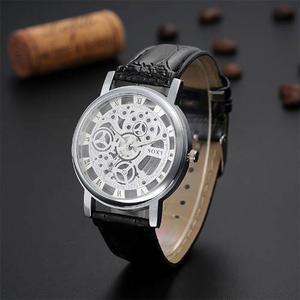 Reloj Para Hombre Caballero Tipo Eskeleton Y Correa De Piel