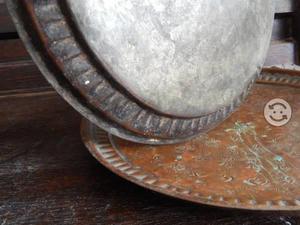 2 Platos Decorativos de Cubre, Antiguos Grabados
