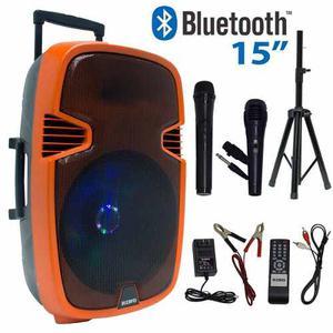 Bocina Amplificada Rino 15 Bluetooth Recargable Con Tripie