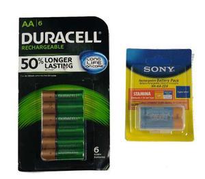 6 Recargables Duracell Aa mah Baterias +2 Regalo Sony +e