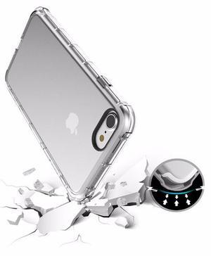 Funda Transparente Goma Uso Rudo Iphone + Vidrio Templado