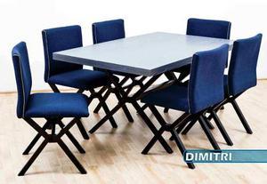 Comedor Vintage Mesa 6 Sillas Gris Azul Negro Moderno