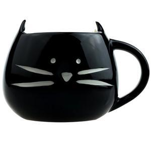 Taza De Ceramica Forma Cara Gato Gatito Bigotes Negro H