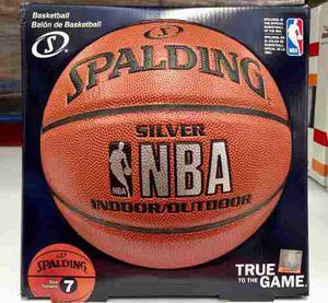 Balon De Basquetbol Nba Silver Spalding Indoor/outdoor No.7