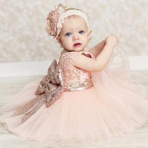 Vestido De Fiesta Para Niña Niñas Tul Brillante Moño