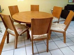 Comedor de madera cedro redondo de 6 sillas