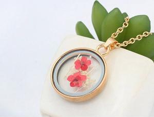 Collar Trébol Flor Naturaleza Encapsulada Flores Reales