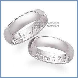 Goldcash.- Argollas De Matrimonio Oro Blanco De 24k Chapa
