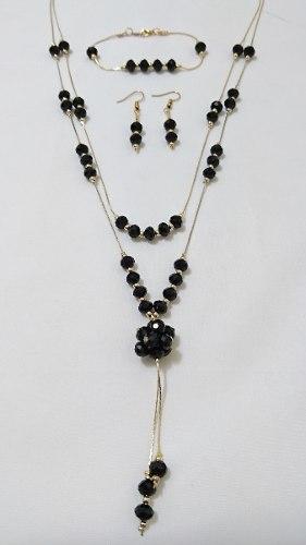 Juego De Oro Laminado (collar Doble, Pulsera Y Aretes)