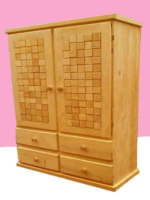 Ropero Armario Closet de madera de pino, 2 modulos, nuevo