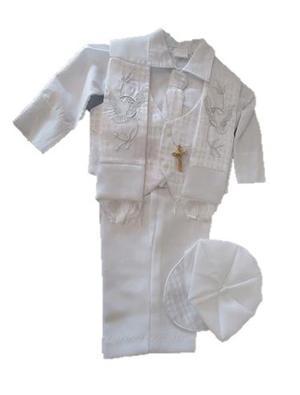 Lindo Traje Blanco Bautizo Bebé 6 12 Meses Chaleco Gorro
