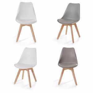 Paquete De 4 Sillas Eames Acojinada Modernas Minimalista
