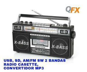 Radio Retro Am/fm Usb, Sd, Casette, Convertidor Mp3