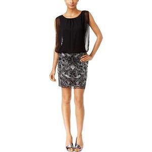 Vestido Calvin Klein Negro Chiffon Bordado Talla 4 Nuevo con