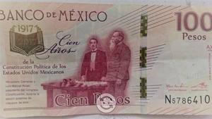 Billete de 100 pesos centenario de la constitycio